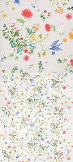 """white double-gauze fabric with flowers in pink, yellow, blue, orange, with green leaves, birds, Material: 100% cotton, Pattern Repeat: ca. 61cm (24""""), Designer: Naomi Ito #DoubleGauze #Flower #Leaf #Plants #JapaneseFabrics"""