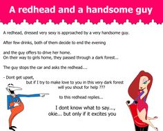 A redhead, dressed very sexy is approached by a very handsome guy ~ Giggles