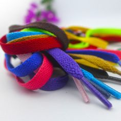 2 Pairs Flat Rainbow Shoe Laces Long Shoelaces Bootlaces 8MM  Wide