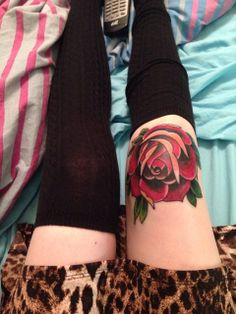 Knee tattoo looks cool but that must have hurt! lol