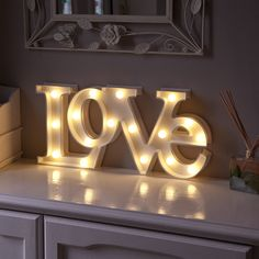 "WARM WHITE LED BATTERY ""LOVE"" MARQUEE LIGHT UP CIRCUS LETTER SIGN WITH TIMER in Home, Furniture & DIY, Lighting, Wall Lights 