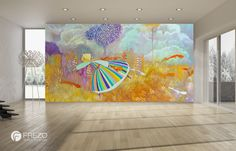 """Wallpaper """"Rainbow Girl With Foxes"""" • WOO Design"""