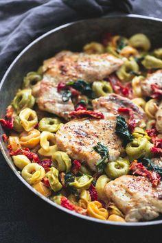 One Pan Tuscan Garlic Chicken Tortellini   lecremedelacrumb.com