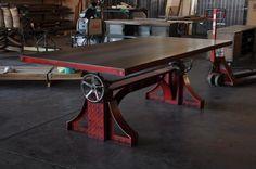 Vintage Industrial BRONX Adjustable Height Table / Desk / Conference Table | Antiguos, Muebles antiguos, Mesas | eBay!