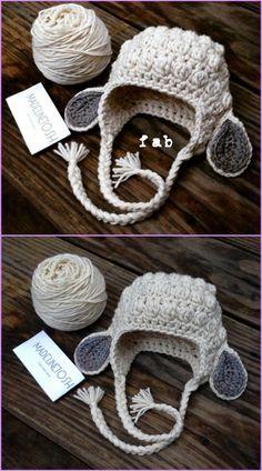 Crochet hats 572590540116487633 - Crochet Kids Bobble Lamb Hat Free Pattern Source by Crochet Animal Hats, Crochet Kids Hats, Crochet Baby Booties, Crochet Beanie, Crochet Crafts, Crochet Clothes, Crochet Projects, Bobble Crochet, Childrens Crochet Hats