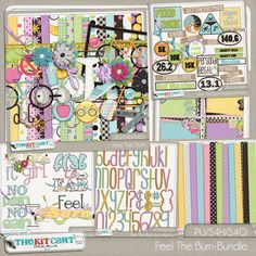 Feel The Burn Digital Scrapbook Bundle. Includes the Kit, Marathon Extra Elements, Paper Stackers, Word art, Alphas and Extra papers.