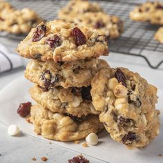 This chunky cookie is full of good things - dried cherries, coconut, oats and white chocolate chips. Bake up a batch to share with your family. No Bake Coconut Cookies, Sugar Free Cookies, Yummy Cookies, Cupcake Cookies, Cherry Cookies, Chocolate Chips, White Chocolate, Hummingbird Cake Recipes, Delicious Desserts