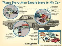 "theenginseer: ""ratak-monodosico: ""What Every Man Should Have in His Car: An Illustrated Guide "" This is what everyone should have in their car, just in case. Survival Life Hacks, Camping Survival, Survival Prepping, Emergency Preparedness, Survival Skills, Survival Gear, Emergency Supplies, Urban Survival, Homestead Survival"