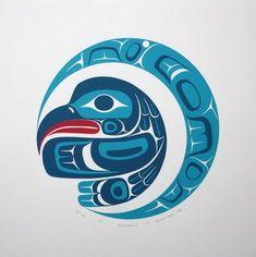 Illustratie van vogel en maan. Mooie kleuren. Vooral blauw met klein accent rood.