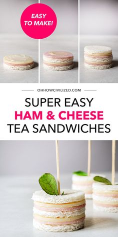 Tasty, bite-sized ham and cheese tea sandwiches perfect for tea time, parties, and snack time! Three bites and they're gone. So easy to make, no cooking is involved, just prepping and assembling. Tea Recipes, Snack Recipes, Tea Etiquette, Tea Places, Tea Time Snacks, Tea Sandwiches, Best Tea, Ham And Cheese, How To Make Tea