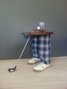 Golf club table lamp golf clubs golf and golf art side table accent table vintage whimsical golfers table golf home decor furniture golfers leg table by luckyhomefinds on etsy aloadofball Choice Image