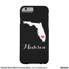 Florida Heart Black Custom Monogram Barely There iPhone 6 Case