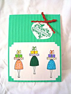 Christmas gifts Christmas shopping hand stamped card by Wcards, $3.00