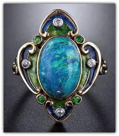 Art Nouveau Black Opal and Enamel Ring | © 2001-2015 Lang Antiques #opalsaustralia