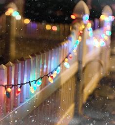 christmas lights strung on a fence