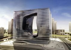 Image 1 of 4 from gallery of Zaha Hadid Designs New Office Building and Hotel for Dubai. Photograph by Zaha Hadid Architects Zaha Hadid Architecture, Zaha Hadid Buildings, Cultural Architecture, Education Architecture, Classic Architecture, Futuristic Architecture, Architecture Design, Office Buildings, Chinese Architecture