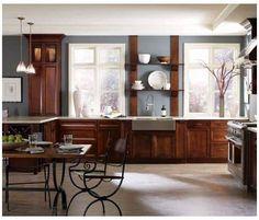 Cherry Wood Kitchen Cabinets, Cherry Wood Kitchens, Dark Wood Kitchens, Kitchen Cabinets Decor, Cabinet Decor, Painting Kitchen Cabinets, Wood Cabinets, Cherry Kitchen, Kitchen Wood