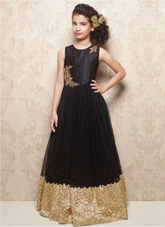 Latest Black Soft Net & Banarasi Silk Designer Gown @Rs.1699 #Fancy #Latest #Gorgeous #Designer #Kids #Gown