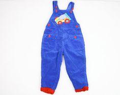Vintage Toddler Boy Overalls Cobalt Blue Red by ShopTwitchVintage, $14.00 #vintage #etsy #toddler #boy
