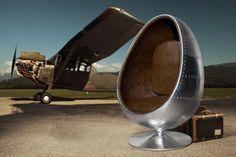 Design Lounge Sessel Sitzei SPACE EGG Alu Silber Vintage Look braun