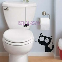 Funny Cat and Spider Vinyl Wall Stickers for Toilet WC Washroom Wall Paper Cartoon Wall Decal Home Decor Wallpaper Decoration
