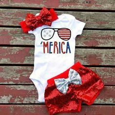 Fourth of July 'Merica onesie with sparkly shorts and bow