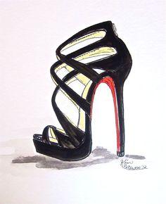 Fashion illustration   Louboutin sketch original by KIMPETERSONART, SOLD