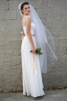 Strapless wedding dress french lace and chiffon by ShaniBlumenfeld, $1000.00