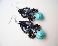 Bohemian micro macrame earrings  Black Turquoise por MartaJewelry