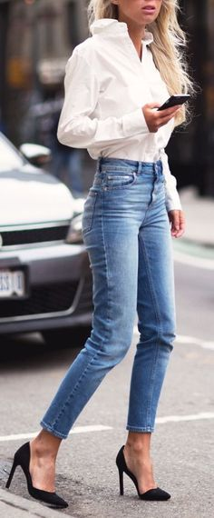 Street fashion | White shirt, high waist jeans and black heels