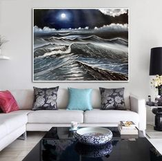 On etsy Seascape Paintings, Instagram Shop, Large Wall Art, Handmade Art, Modern Art, Colours, The Originals, Etsy, Furniture