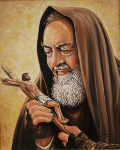 """""""Imagine Jesus crucified in your arms and on your chest, and say a hundred times as you kiss His chest, """"This is my hope, the living source of my happiness; this is the heart of my soul; nothing will ever separate me from His love.""""  - St. Padre Pio ✝"""