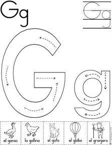 letra g fichas del abecedario y el alfabeto para descargar gratis para imprimir de niños