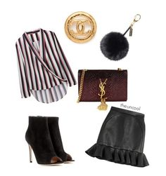 """""""Untitled #16"""" by the-uncool-collective on Polyvore featuring David Koma, Gianvito Rossi, Yves Saint Laurent and Helen Moore"""