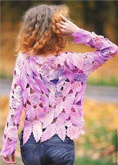 Кофты и свитера ручной работы. Ярмарка Мастеров - ручная работа Пуловер ,,Краски фламинго,,. Handmade.