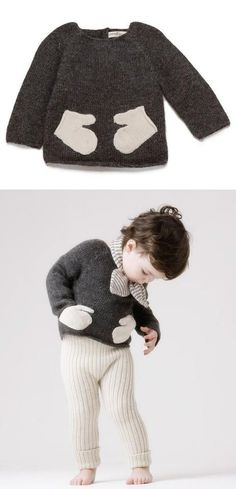 really cool kids sweater with mitten-pockets!