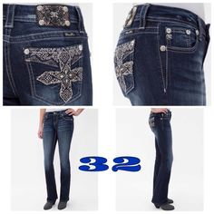 """JUST IN!Curvy Boot Stretch Miss Me's 32 JUST IN!Curvy Boot Stretch Miss Me's NWT Size: 32 Miss Me STOP THE PRESSES  These AHHHMAZING Curvy Boots from Miss Me are the missing piece to your stylish look. Featuring Crystal and Silver Stud Embellished Crosses these babies are the essence of beauty!! Absolutely in LOVE with these babies! perfect stretch that will hold their (and your) great shape all day! Rise 8.5 Inseam 31"""" Curvy Boots Run are an in demand cut and about a half size or so roomy…"""