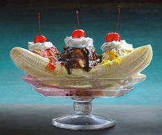 Mary Ellen Johnson, Big Banana Split What a delicious painting! - can't believe this is not a photo! The Banana Splits, Tjalf Sparnaay, Hyperrealistic Art, Delicious Desserts, Yummy Food, Decadent Food, Hyper Realistic Paintings, Food Painting, Big Meals