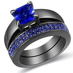2 Piece Blue Diamond Black Gold Plated Princess Cut Wedding Engagement Ring Set Size 5-11	by carfeny