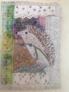 Hedgehog number 4.Last one for now.Vintage lace and dyed fabrics and threads.Debbie Irving