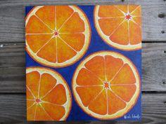 Fresh Bold Bright Orange Fruit Painting Colbalt blue Art Deco kitchen decor kitchen painting 12X12 acrylic painting on canvas free shipping. $50.00, via Etsy.