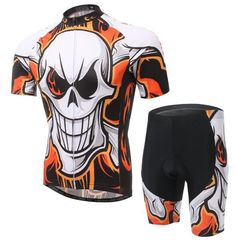 SKULL Style Cycling Team Short Sleeve Bicycle Sportwear Jersey (BIB) Shorts Set