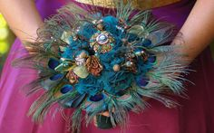 DEPOSIT for Peacock Feather Brooch Vintage Bridal Blue Bouquet Victorian Rennaisance via Etsy