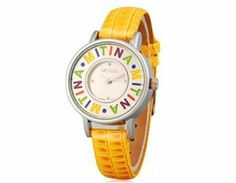 Tanboo Mitina Women's Round Dial Analog Watch with Faux Leather Strap (Yellow) by Tan Watches. $9.99. Comfortable faux leather strapComfortable faux leather strapWater resistantSuitable for everyday useA great gift for your friends. Style:Casual. Water resistant. Model:M-110. Suitable for everyday useBrand:Mitina. Comfortable faux leather strapWater resistantSuitable for everyday useA great gift for your friendsGeneral SpecsBrand:MitinaModel:M-110Style:CasualD...