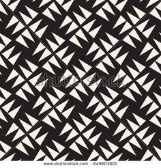 Black and white shapes seamless pattern background. Stylish symmetric lattice.  Abstract geometric tiling mosaic