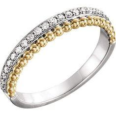 14K White Gold & Yellow Gold 1/4 CTW Diamond Beaded Ring