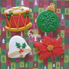 Christmas Cookies - Drum, Bell, Ornament, and Poinsettia