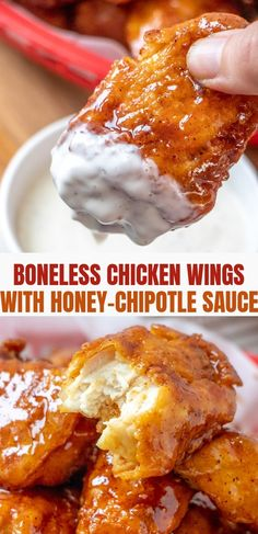 Boneless Wings with Honey Chipotle sauce are sticky and sauce on the outside and moist and tender on the inside for a finger-licking appetizer everyone will love. With sweet, tangy, and spicy flavors, they're a sure party hit! Boneless Chicken Wings, Chicken Wing Sauces, Chicken Wings Spicy, Canned Chicken, Chicken Wing Recipes, Chicken Wing Flavors, Chicken Breasts, Honey Chipotle Sauce, Honey Sauce
