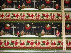 "This beautiful piece of Christmas fabric from Debbie Mumm is sold by the half yard @ 18"" long x 44"" wide. Great for quilting, pillows, wall hangings, etc. Stripes run parallel to the selvage and are repeated a 2nd time above the orientation in the picture. 