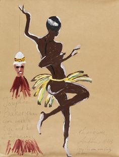 Andrew Gilbert, Josephine Baker please come back to life and kill all my enemies - thank you, 2013, Acrylic, watercolor and pen on paper 62 x 48 cm